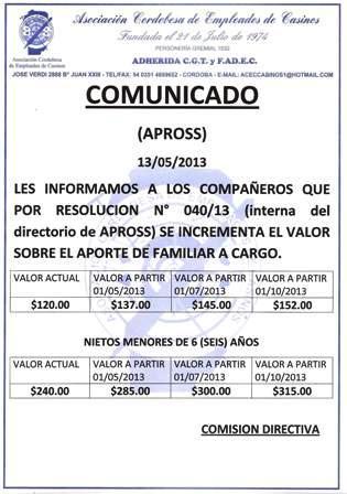 Comunicado 2 apross 13-05
